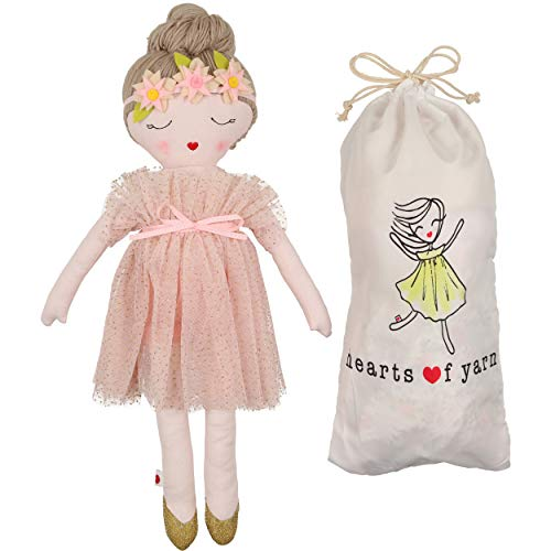 Hearts of Yarn Plush Ballerina Doll Handmade Designer Decor Fabric Pillow 19 inches Tall