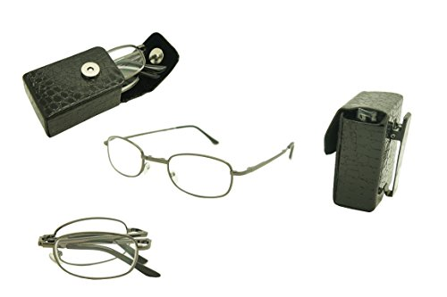 ColorViper Pocket Folding Metal Reading Glasses with Cases R7299TS (shiny gunmetal, 1.75)