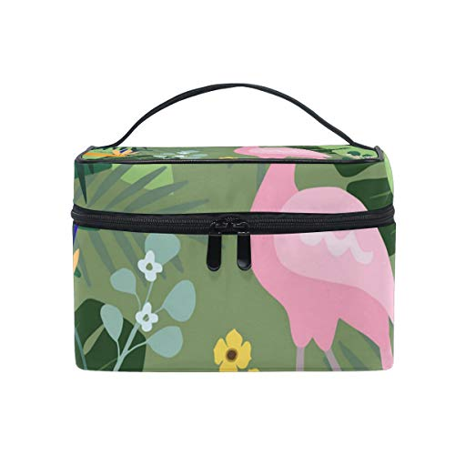 Green Woods Flamingo Decorations Christmas Gift Retro Cosmetic Bag Light And Easy To Carry Cosmetic Bag Lady Cosmetic Bag Cosmetic Bag Travel Storage Bag