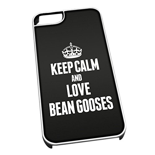 Bianco cover per iPhone 5/5S 2393 nero Keep Calm and Love Bean Gooses