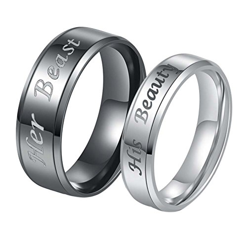 Matching Couple Rings - His Beauty Her Beast Rings Titanium Stainless Steel Rings for Wedding Valentine's Day Gift (Cheap Valentines Gifts For Men)