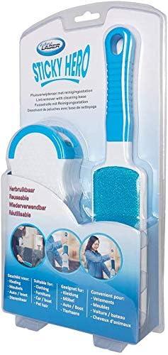 elimina f/ácilmente el pelo de perros y gatos Aqua Laser Sticky Hero Cepillo autolimpiante de doble cara con estaci/ón de limpieza contra pelos de animales y pelusas