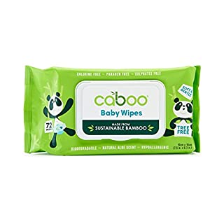 Caboo Tree Free Bamboo Baby Wipes, Eco Friendly Naturally Derived Baby Wipes for Sensitive Skin, 72 Wipes, Resealable Peel Tab Travel Pack
