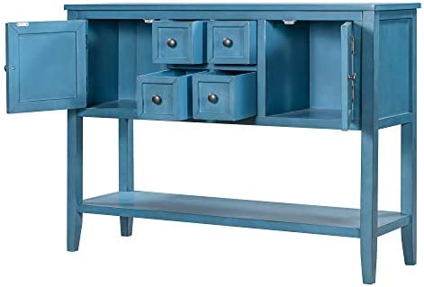 Knocbel 46″ L Retro Wood Console Table Buffet Sideboard