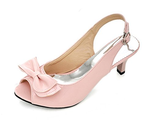 Aisun Women's New Patent Leather Peep Toe Kitten Heels Sandals Shoes With Bows Pink SotKDSH2Y
