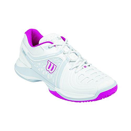 Wilson Nvision Elite Woman, Damen Tennisschuhe, Mehrfarbig (White/Pearl Grey/Fiesta Pink), 39 EU (5.5 Damen UK)