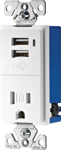 Eaton TR7740W-K Combination USB Charger with Tamper Resistant Receptacle, 2-Pole, 3-Wire Grounding, White