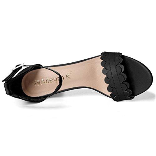 Allegra K Women's Scalloped Ankle Strap Sandals Black foKqpOVj