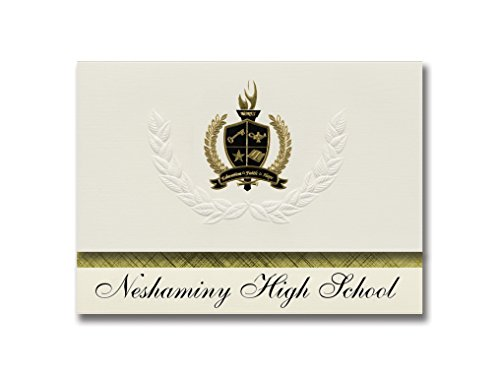 Signature Announcements Neshaminy High School (Langhorne, PA) Graduation Announcements, Presidential style, Basic package of 25 with Gold & Black Metallic Foil - Pa Neshaminy