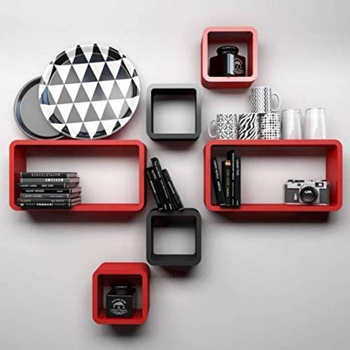 Woodsy Wooden Wall Rack Shelf for Living Rooms  Red Black