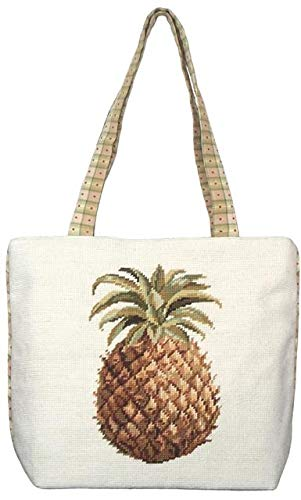 EuroLuxHome Tote Bag Pineapple Wool Yarns New Needlepoint Hand-Embroidered ()