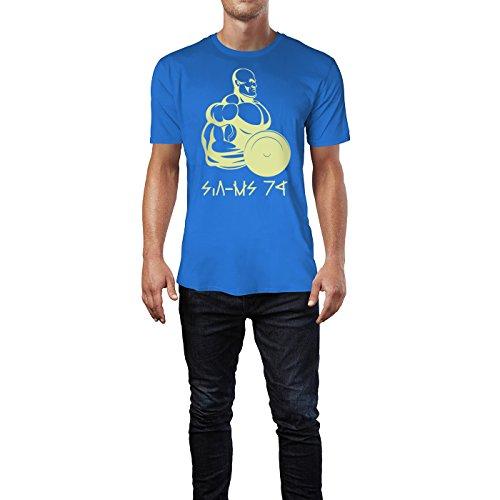 SINUS ART ® Bodybuilder in Seitenansicht mit Gewicht Herren T-Shirts in Blau Fun Shirt mit tollen Aufdruck