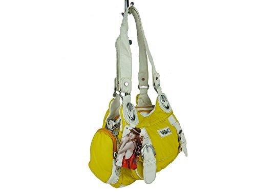 V&C 7501 kleine Damen Sommerhandtasche, verschiedene zweifarbige Modelle, 26x18x10 gelb
