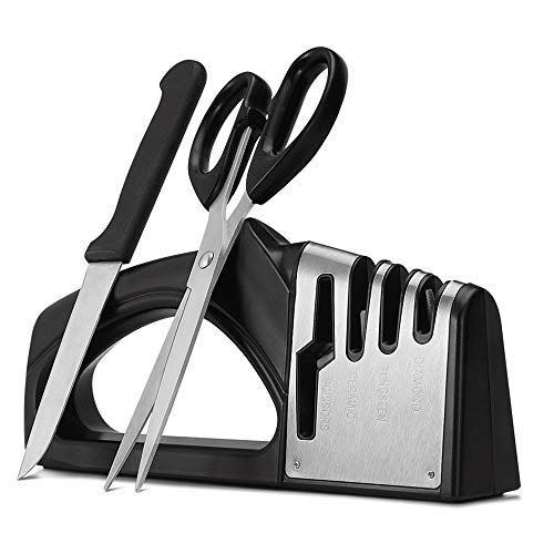 Knife Sharpener - Tasera Professional Kitchen 4 Stage Manual Stainless Steel Knife Sharpeners for Straight & Serrated knives and Scissors,Diamond Coated Wheel System,Quickly, Safe and Easy to Use