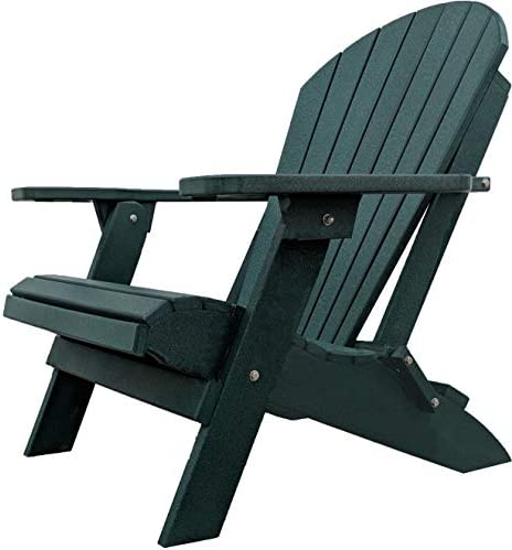 DURAWEATHER POLY Classic King Size Folding Adirondack Chair Forest Green