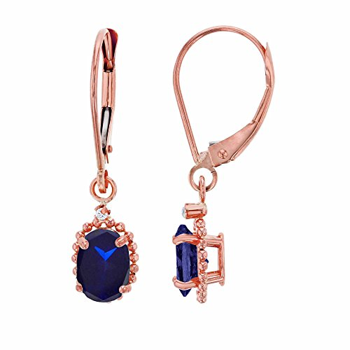 10K Rose Gold 1.25mm Round Created White Sapphire & 6x4mm Oval Created Blue Sapphire Bead Frame Drop Leverback Earring Carats Ruby Sapphire Beads