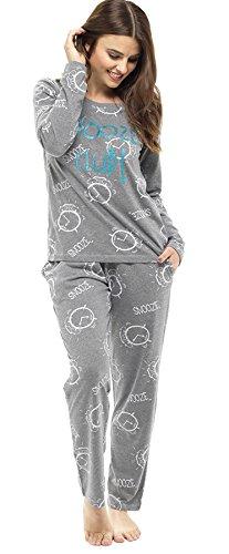 lunghe in cotone con da pigiama maniche donna Set Grigio a slogan E105qw1Sx