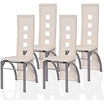 Amazoncom Coaster Set Of Dining Chairs Red Leather Like Metal - High back dining chairs