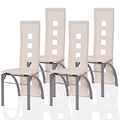 Giantex 4 Pcs Dining Chairs PU Leather Steel Frame High Back Contemporary Home Furniture (White) Leather High Back Frame