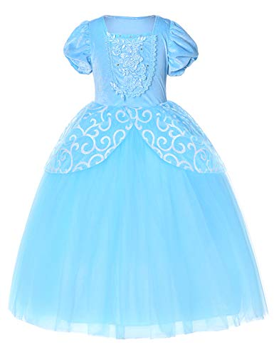 9-layers Tulle Skirt Princess Cinderella Costume Girls Dress Up With Accessories 5T 6T by Party Chili (Image #4)