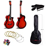 Cowboy 38 inches Acoustic Guitar with Cutaway Design Comes With Guitar Bag, Strap, Guitar Picks and an extra set of 6 strings – Red Color
