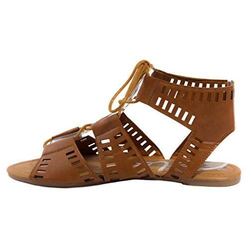 Blu Donna Caloya-h Allacciate Sandali Flat Fashion Caloya-tan