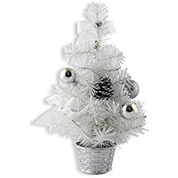ids home 12inch mini desk top table top decorated christmas tree with bows baubles ornaments decorations white - White Mini Christmas Tree