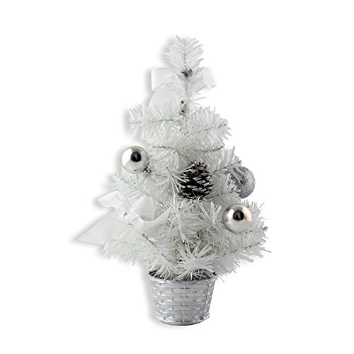 IDS Home 12inch Mini Desk Top Table Top Decorated Christmas Tree with Bows & Baubles Ornaments Decorations, - Trees White Christmas Decorated
