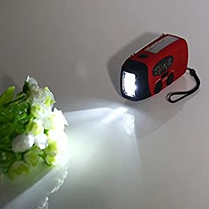 HonsCreat US Ship Emergency Solar Hand Crank Dynamo AM/FM/WB Weather Radio LED Flashlight Charger