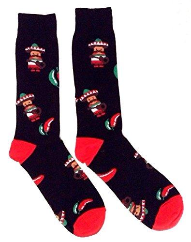 Fine Mix (Novelty Fine Fit Crew Socks - Mix Prints (Black Mariachi Chili Pepper))