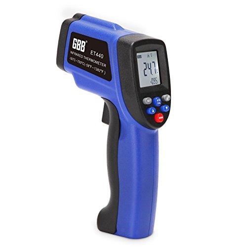 GBB Infrared Thermometer Non Contact Digital Laser Temperature Gun, -50°C~750°C (-58 °F ~ 1382°F) Emissivity Adjustable Memory Function (Pet Animal Temp Instant)