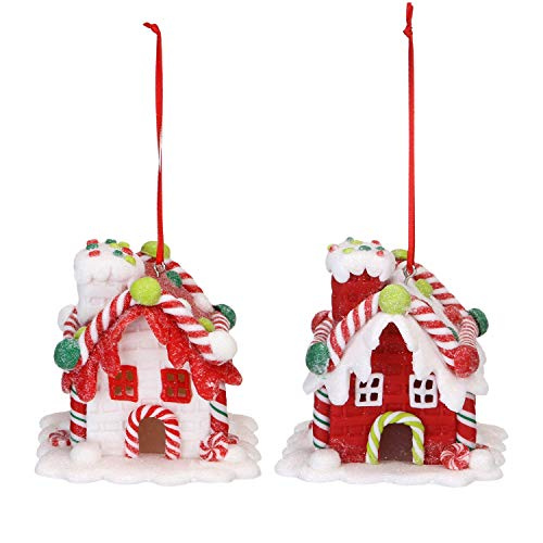 Sea Team Assorted Clay House Ornaments Snow-Covered Cottage Hanging Charms Christmas Tree Ornament Holiday Decorations, Set of ()
