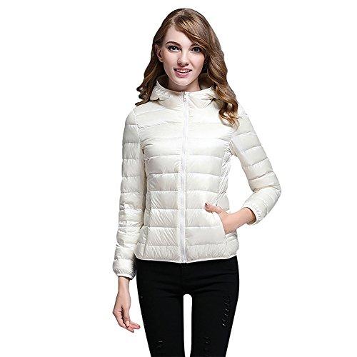 Capucha Para Peso Blanco Chaqueta Capucha Winter Disponible Con Mena Down Mujer Ligero x8S0wPt8nW