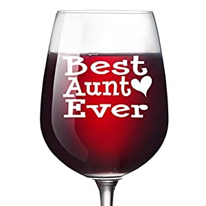 Best Aunt Ever Wine Glass 13 Oz - Mother's Christmas Birthday Gift from Niece or Nephew BAE Day Aunty Auntie Gifts From Baby