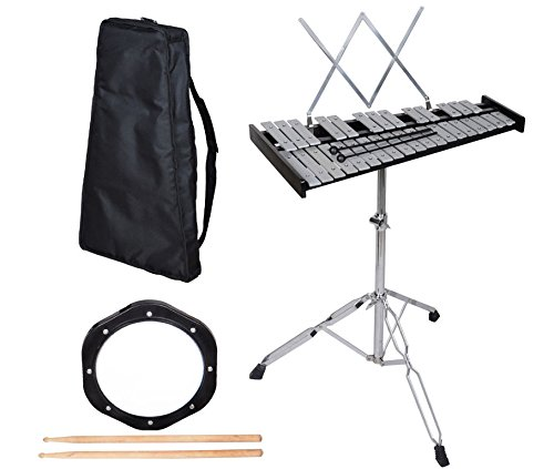 GHP Musical Instrument 32 Notes Glockenspiel Bell Kit w Practice Pad & Carrying Bag by Globe House Products