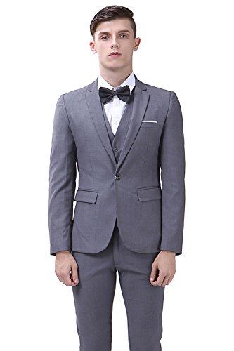 Tweed Lined Pants (TALITARE Men's One Button Slim Fit 3-Piece Suit Party Blazer Business Vest Casual Pants Grey, XXL)