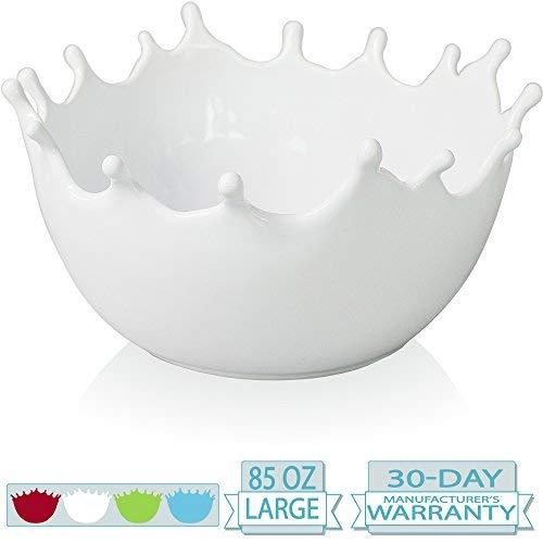 Premium Large Ceramic Fruit Bowl - Candy Dish - Salad Bowl - Decorative Centerpiece Bowl - Serving Bowl - Best for Serving Fruit Salad Candy Popcorn Punch Chips - Unique Modern Design - White ()