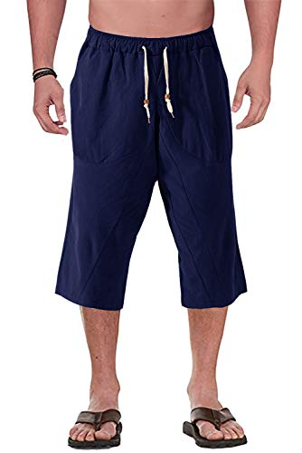 FASKUNOIE Men's Long Shorts Baggy 3/4 Pants Cotton Beach Trousers with Pockets Navy ()