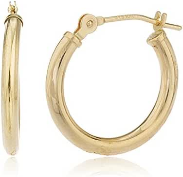 10k Yellow Gold 2mm Basic Pincatch Hoop Earrings (All Sizes Available)