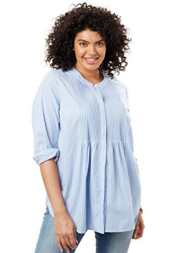 Woman Within Women's Plus Size Perfect Pintucked Shirt - French Blue Stripe, L