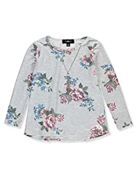 Amy Byer Girls' Lace-Up Back L/S Top with Necklace