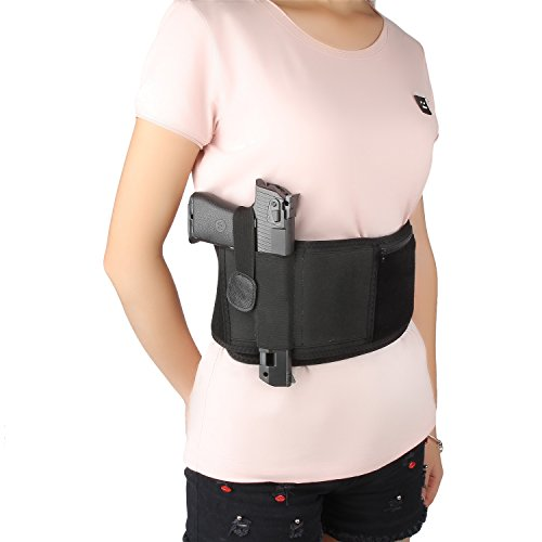 Fontic Black Ultimate Belly Band Holster for Concealed Fits Gun Smith and Wesson Bodyguard Carry Glock 19, 17, 42, 43, P238, Ruger LCP and Similar Sized Guns Men and Women