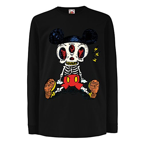 T-Shirt for Kids Mouse Skeleton Halloween Party Outfits Trick or Treat Death Skull Design (3-4 Years Black Multi Color)]()