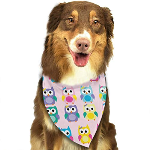 OURFASHION Girly Owls On Pink Bandana Triangle Bibs Scarfs Accessories for Pet Cats and Puppies.Size is About 27.6x11.8 Inches (70x30cm). -