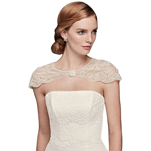 David's Bridal Floral Filigree Beaded Dress Topper Style OW1016, Ivory, 1X by David's Bridal