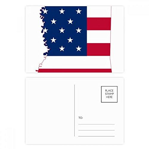 Mississippi USA Map Stars Stripes Flag Shape Postcard Set Birthday Thanks Card Mailing Side 20pcs (Postcard Mississippi)