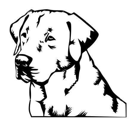 Head Retriever - JS Artworks Labrador Retriever Head Vinyl Decal Sticker (Black)