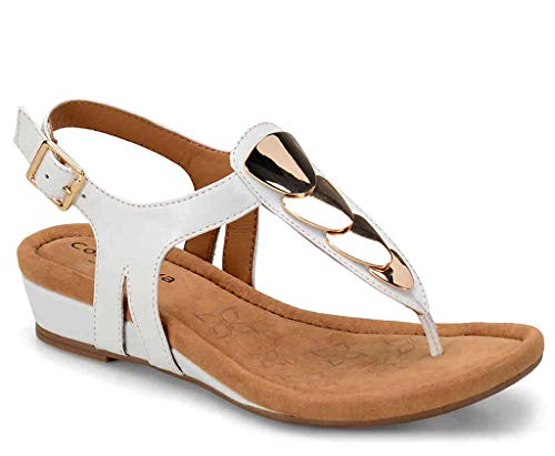 Comfortiva Women's, Summit Low Heel Sandal White 8 M from Comfortiva