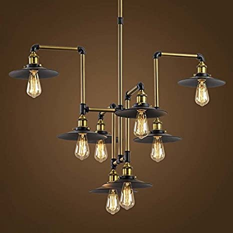 industrial bar lighting. Industrial Splendid 8 Lights 40\u0026quot; Large Bronze Chandelier - LITFAD  Vintage Retro Edison Metal Hanging Industrial Bar Lighting S