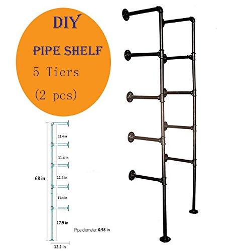 Industrial Retro Wall Mount Iron Pipe Shelf Hung Bracke 5Tiers Diy Storage Shelving Bookshelf (2 pcs)